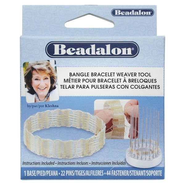 Beadalon Bangle Bracelet Weaver Tool, Aluminum Base with 22 Pins & 44 Holders, Makes 3 Sizes