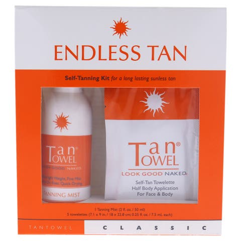 Classic Endless Tan Self Tanning Kit By Tan Towel For Unisex - 2 Pc 2Oz Tanning Mist, 5 X 0 25 Oz Towlettes