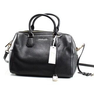 Michael Kors NEW Black Silver Mercer Duffle Satchel Pebble Leather Bag