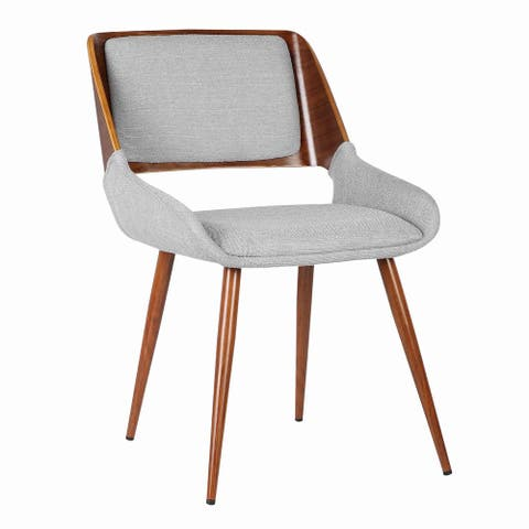 Fabric Mid Century Dining Chair with Split Padded Back, Gray and Brown