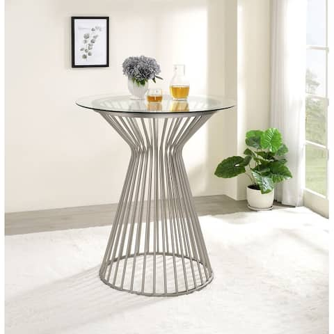 Round Glass Top Bar Table with Metal Base