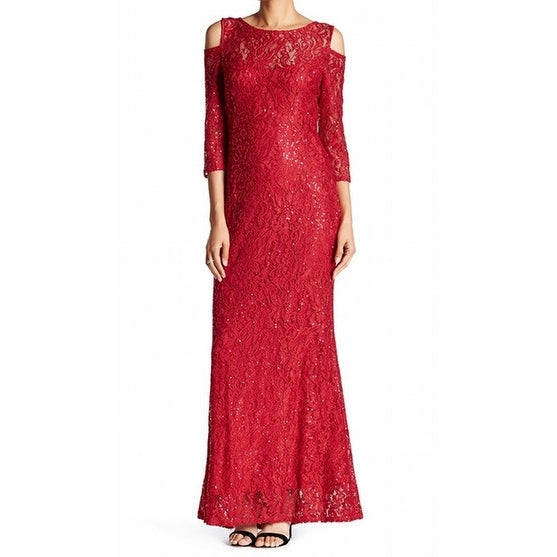 9a5266db8f Marina NEW Red Lace Sequin Womens Size 6 Cold-Shoulder Ball Gown Dress