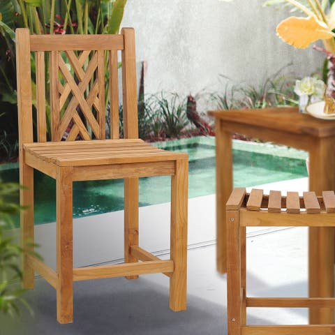 Teak Wood Chippendale Counter Stool without Arms