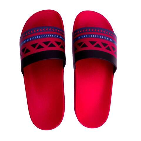 Red ethnic slide sandals