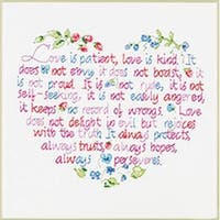 "12""X10"" - Love Is Patient Stamped Cross Stitch Kit"