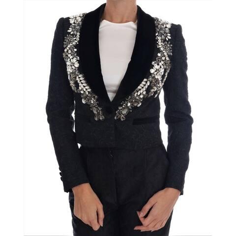 Dolce & Gabbana Black Brocade Crystal Women's Blazer