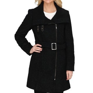 Cole Haan NEW Black Teal Women Size 10 Asymmetrical Belted Coat