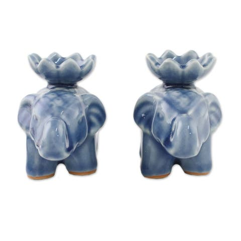 "Handmade Lotus Elephant In Blue Ceramic Incense Holders (Pair) Thailand - 2.2"" H x 1.8"" W x 3.1"" D"