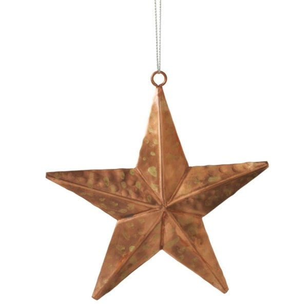 "5.75"" Urban Nature Rustic Style Bronze and Gold Polka-Dot Pounded Star Christmas Ornament"