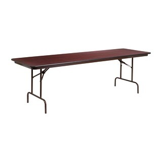 Offex 30'' x 96'' Rectangular Walnut Melamine Laminate Folding Banquet Table [OF-YT-3096-MEL-WAL-GG]