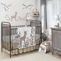 Lambs & Ivy Meadow White/Taupe/Gray Woodland Deer Nursery 3-Piece Baby Crib Bedding Set
