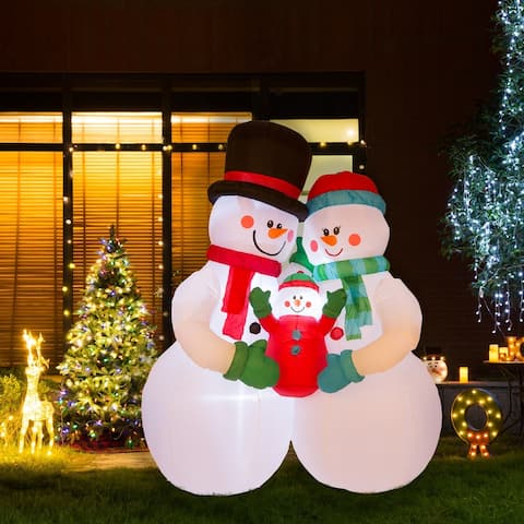 Glitzhome 8' Lighted Inflatable Snowman Family Decor