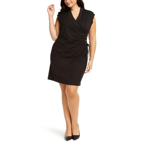 Anne Klein Womens Plus Sheath Dress V-Neck Lace-Up - Anne Black