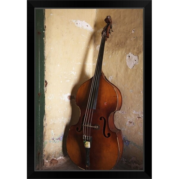 """""""A double bass in the corner of a room"""" Black Framed Print"""
