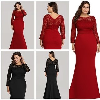 Ever-Pretty Womens Plus Size Mermaid Long Sleeve Formal Evening Prom Party  Dress 07668 | Overstock.com Shopping - The Best Deals on Evening & Formal  ...