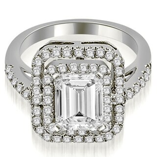 1.17 cttw. 14K White Gold Double Halo Emerald Cut Diamond Engagement Ring (More options available)