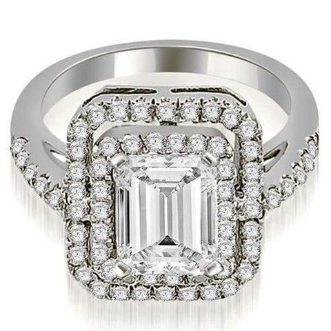 1.17 cttw. 14K White Gold Double Halo Emerald Cut Diamond Engagement Ring HI, Si1-2