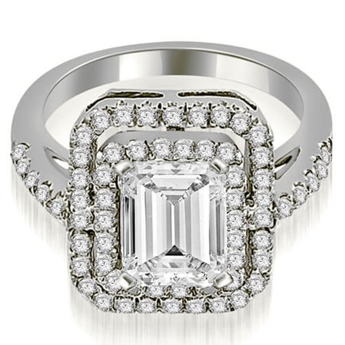 1.42 cttw. 14K White Gold Double Halo Emerald Cut Diamond Engagement Ring