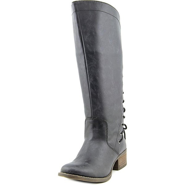 Madden Girl Derail Women Round Toe Synthetic Black Knee High Boot