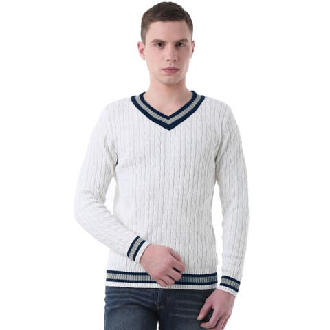 Men V Neck Cable Pattern Long Sleeves Pullover Sweater - White