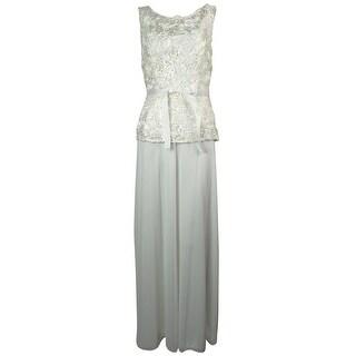Onyx Nite Women's Belted Soutache Sequined Lace Chiffon Dress