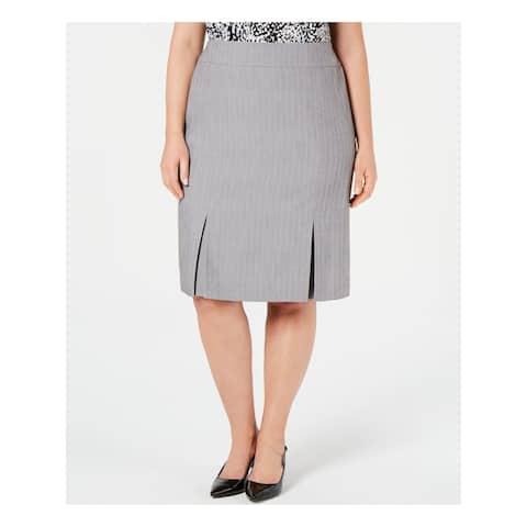KASPER Womens Gray Knee Length Pleated Wear to Work Skirt Size 20W