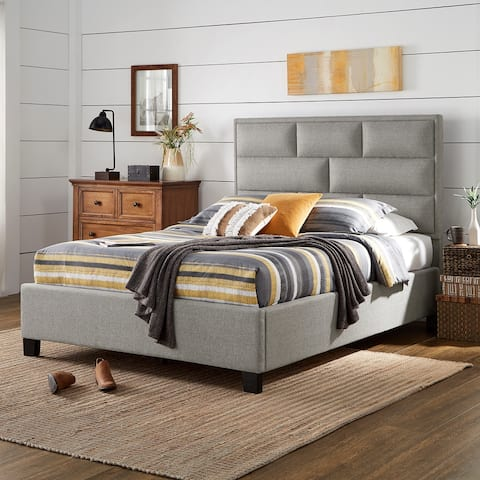 Aeros Grey Linen Upholstered Panel Bed by iNSPIRE Q Modern