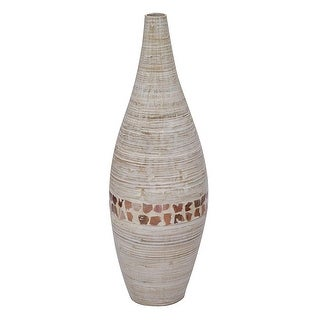 "31"" Spun Bamboo Floor Vase - Bamboo In Distressed White W/ Coconut Shell"