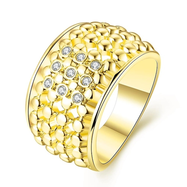 Gold Plated Multi Beaded Lining with Jewels Crystals Ring