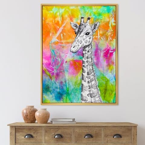 Designart 'White Giraffe Drawing on Bright Rainbow' Children's Art Framed Canvas Wall Art Print