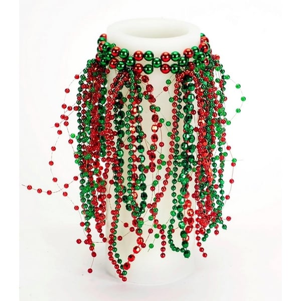 Pack of 6 Red and Green Beaded Bottle Candle Rings 8""