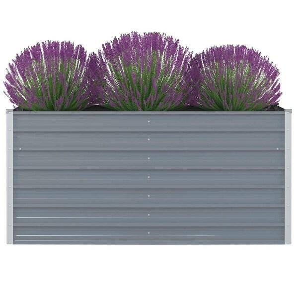 """vidaXL Raised Garden Bed 63""""x31.5""""x30.3"""" Galvanised Steel Gray"""