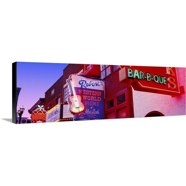 """""""Neon signs on building, Nashville, Tennessee"""" Canvas Wall Art"""