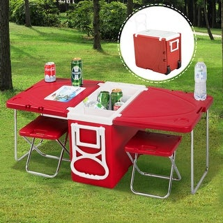 Costway Multi Function Rolling Cooler Picnic Camping Outdoor w/ Table & 2 Chairs Red