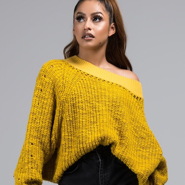 Shop Akira Women'S Loose Knit Oversize Long Sleeve Off