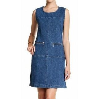 Sharagano NEW Blue Womens Size 10P Petite Denim Zip-Pocket Shift Dress