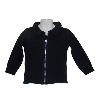 Little Girls Crystal Zipper Black Cardigan With Collar And Pockets 5-10 (Option: 7)