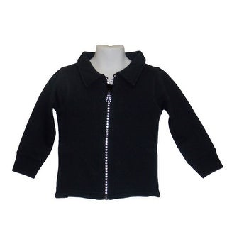 Little Girls Crystal Zipper Black Cardigan With Collar And Pockets 6M-4T