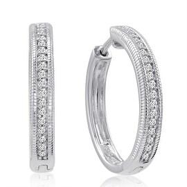 Amanda Rose 1/4ct tw Diamond Hoop Earrings set in .925 Sterling Silver
