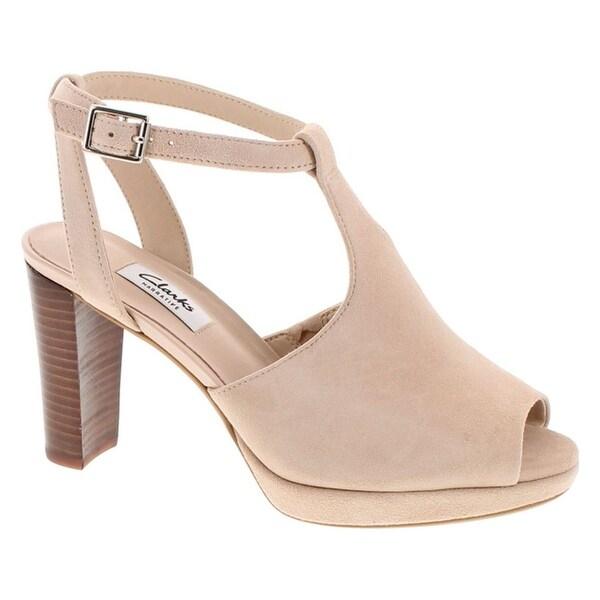 Clarks Women's Kendra Charm Peep Toe Ankle Strap Sandal - nude suede