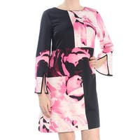 ALFANI Womens Black Printed Bell Sleeve Jewel Neck Above The Knee A-Line Wear To Work Dress  Size: 8