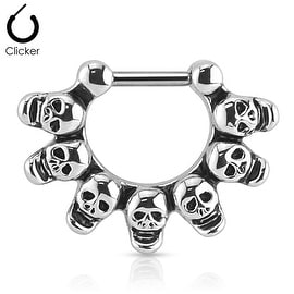 Linked Skulls 316L Surgical Steel Bar Septum Clicker Ring (Sold Individually)