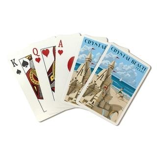 Crystal Beach, Texas - Sand Castle - LP Artwork (Poker Playing Cards Deck)
