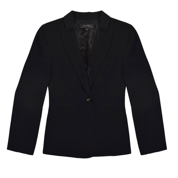 Tahari Black One Button Blazer Size 6. Opens flyout.