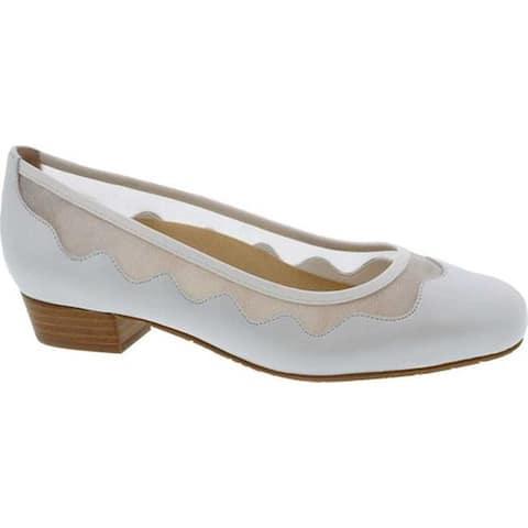 Ros Hommerson Women's Tootsie Dress Ballet Flat White Leather
