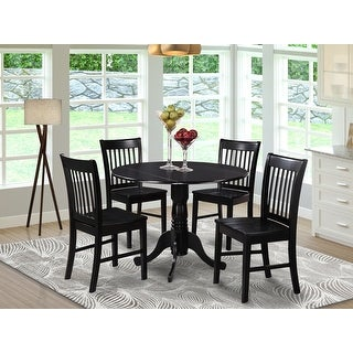 Link to Black Round Kitchen Table and 4 Dinette Chairs 5-piece Dining Set Similar Items in Dining Room & Bar Furniture
