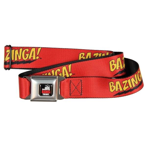 Big Bang Theory Red Bazinga Seatbelt Belt-Holds Pants Up