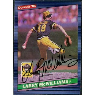 Signed McWilliams Larry Pittsburgh Pirates 1986 Donruss Baseball Card autographed