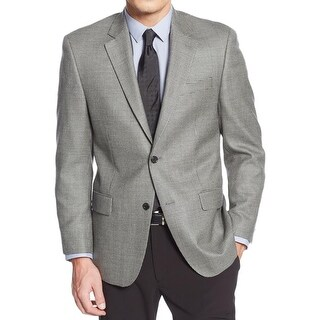 MICHAEL Michael Kors Mens Two-Button Blazer Silk Blend Houndstooth