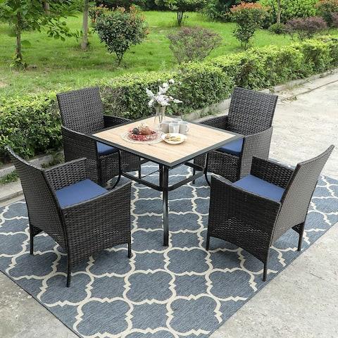 "PHI VILLA Patio Dining Set of 5, 1 Square 37"" Metal Umbrella Table, 4 Rattan Chairs Furniture Set Weather Resistant, Black"